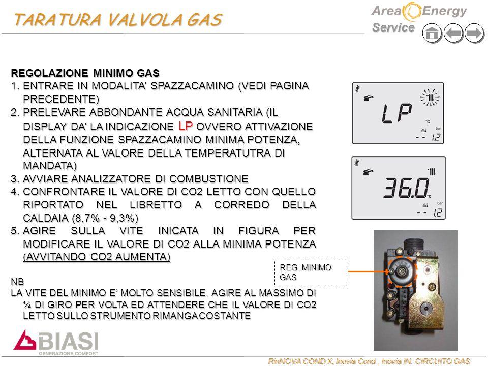 RinNOVA COND X, Inovia Cond, Inovia IN: CIRCUITO GAS Service REGOLAZIONE MINIMO GAS  ENTRARE IN MODALITA' SPAZZACAMINO (VEDI PAGINA PRECEDENTE)  PRELEVARE ABBONDANTE ACQUA SANITARIA (IL DISPLAY DA' LA INDICAZIONE LP OVVERO ATTIVAZIONE DELLA FUNZIONE SPAZZACAMINO MINIMA POTENZA, ALTERNATA AL VALORE DELLA TEMPERATUTRA DI MANDATA)  AVVIARE ANALIZZATORE DI COMBUSTIONE  CONFRONTARE IL VALORE DI CO2 LETTO CON QUELLO RIPORTATO NEL LIBRETTO A CORREDO DELLA CALDAIA (8,7% - 9,3%)  AGIRE SULLA VITE INICATA IN FIGURA PER MODIFICARE IL VALORE DI CO2 ALLA MINIMA POTENZA (AVVITANDO CO2 AUMENTA) NB LA VITE DEL MINIMO E' MOLTO SENSIBILE.