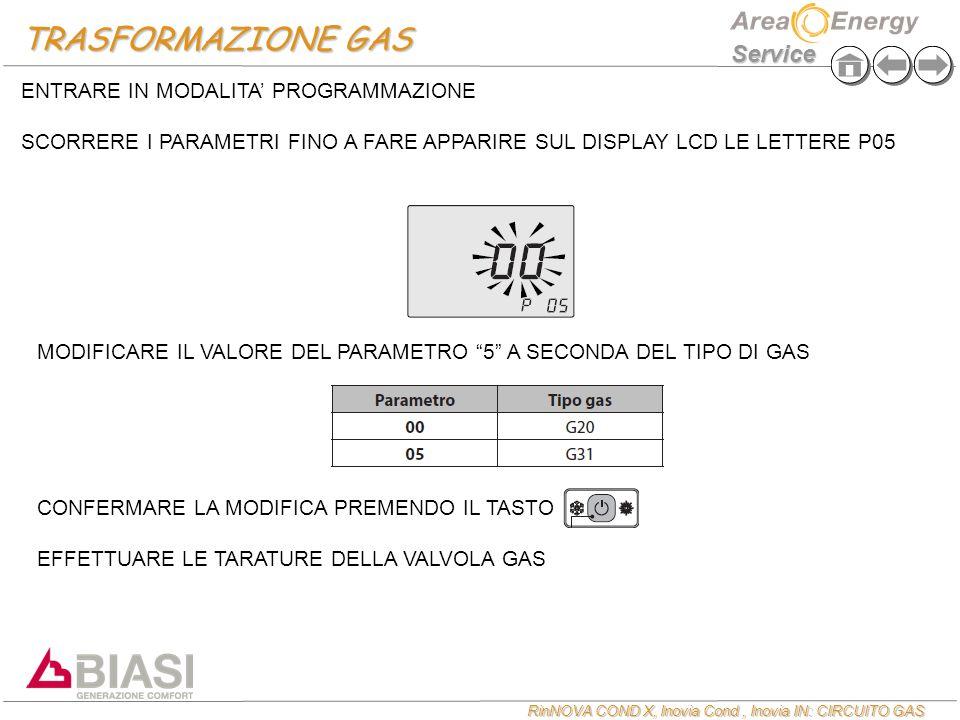 RinNOVA COND X, Inovia Cond, Inovia IN: CIRCUITO GAS Service TRASFORMAZIONE GAS ENTRARE IN MODALITA' PROGRAMMAZIONE SCORRERE I PARAMETRI FINO A FARE APPARIRE SUL DISPLAY LCD LE LETTERE P05 MODIFICARE IL VALORE DEL PARAMETRO 5 A SECONDA DEL TIPO DI GAS CONFERMARE LA MODIFICA PREMENDO IL TASTO EFFETTUARE LE TARATURE DELLA VALVOLA GAS
