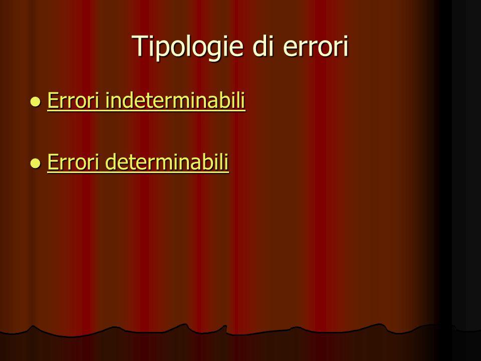 Tipologie di errori Errori indeterminabili Errori indeterminabili Errori indeterminabili Errori indeterminabili Errori determinabili Errori determinab