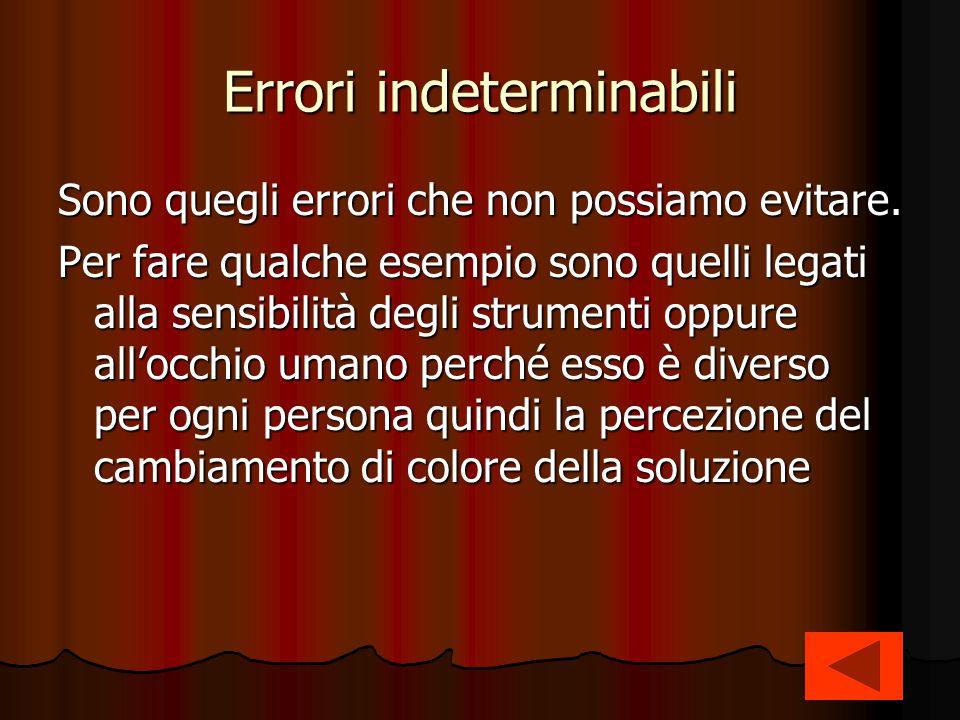 Errori indeterminabili Sono quegli errori che non possiamo evitare. Per fare qualche esempio sono quelli legati alla sensibilità degli strumenti oppur