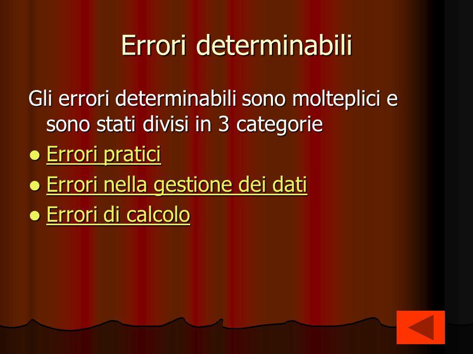 Errori determinabili Gli errori determinabili sono molteplici e sono stati divisi in 3 categorie Errori pratici Errori pratici Errori pratici Errori p