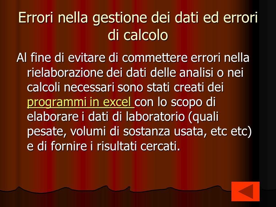 Errori nella gestione dei dati ed errori di calcolo Al fine di evitare di commettere errori nella rielaborazione dei dati delle analisi o nei calcoli
