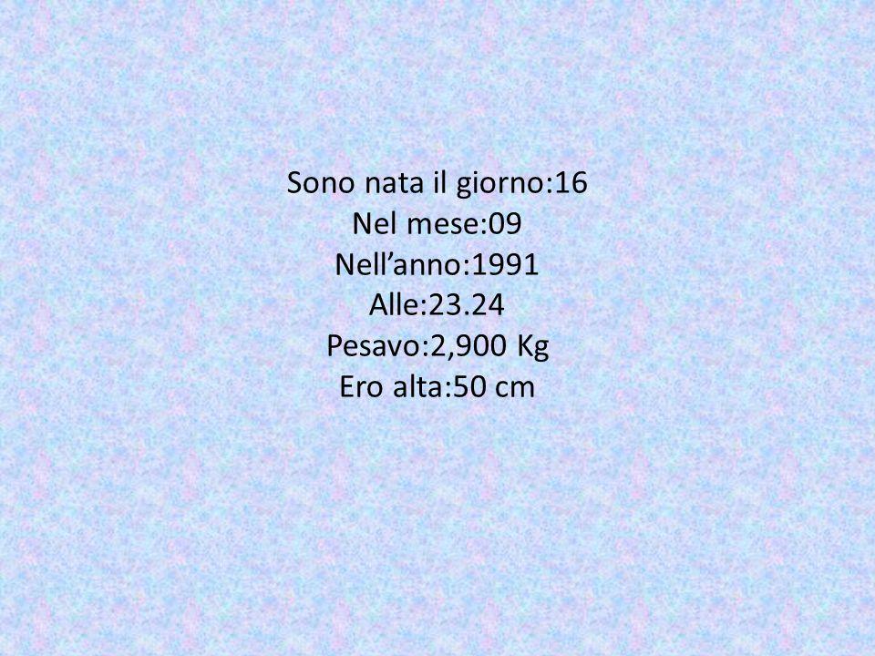 Sono nata il giorno:16 Nel mese:09 Nell'anno:1991 Alle:23.24 Pesavo:2,900 Kg Ero alta:50 cm