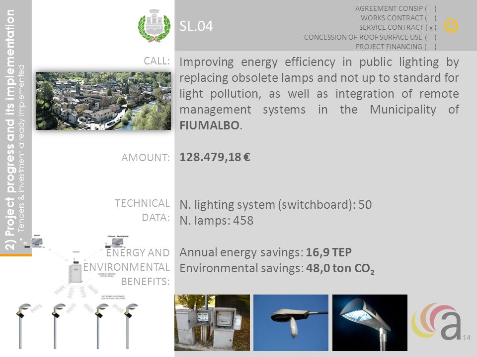 Improving energy efficiency in public lighting by replacing obsolete lamps and not up to standard for light pollution, as well as integration of remote management systems in the Municipality of FIUMALBO.