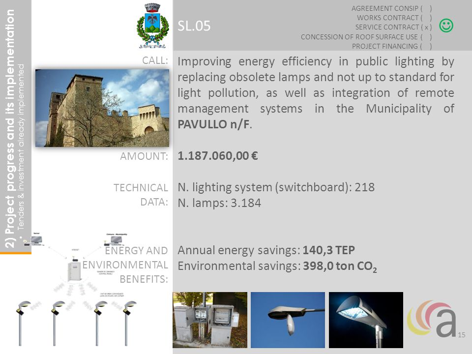 Improving energy efficiency in public lighting by replacing obsolete lamps and not up to standard for light pollution, as well as integration of remote management systems in the Municipality of PAVULLO n/F.
