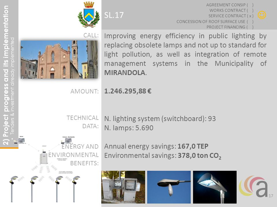 Improving energy efficiency in public lighting by replacing obsolete lamps and not up to standard for light pollution, as well as integration of remote management systems in the Municipality of MIRANDOLA.