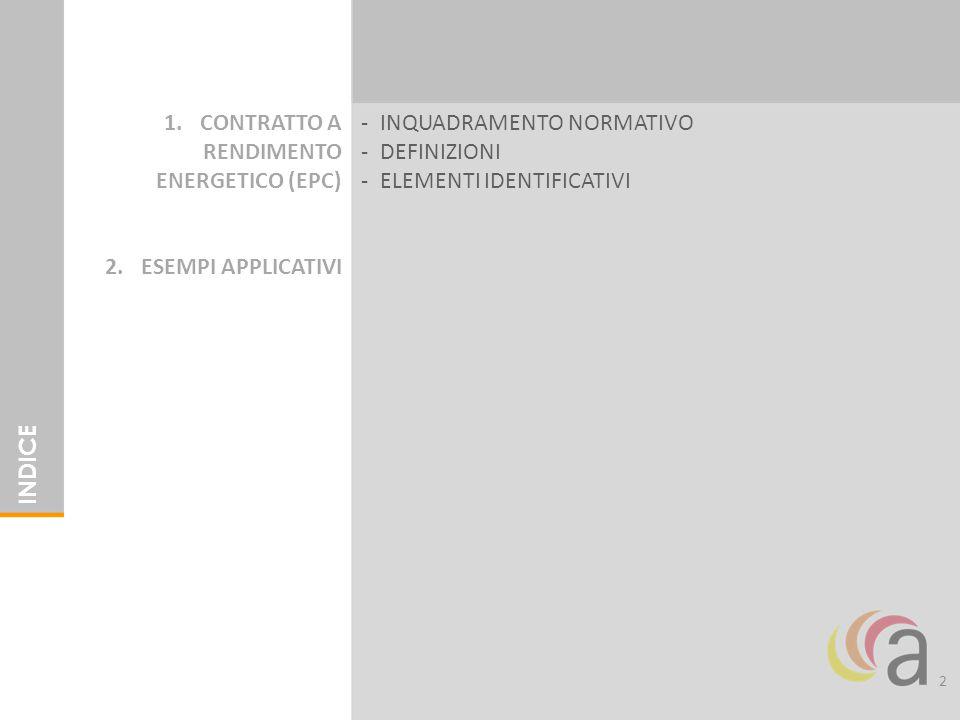 2 1.CONTRATTO A RENDIMENTO ENERGETICO (EPC) 2.ESEMPI APPLICATIVI INDICE -INQUADRAMENTO NORMATIVO -DEFINIZIONI -ELEMENTI IDENTIFICATIVI