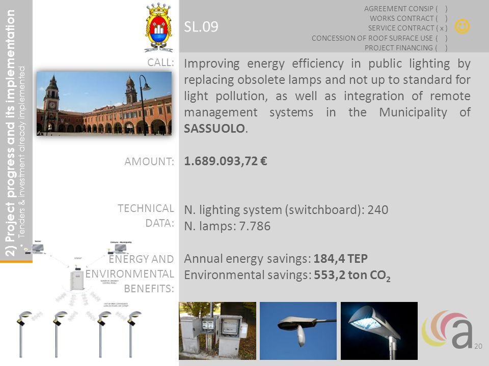 Improving energy efficiency in public lighting by replacing obsolete lamps and not up to standard for light pollution, as well as integration of remote management systems in the Municipality of SASSUOLO.