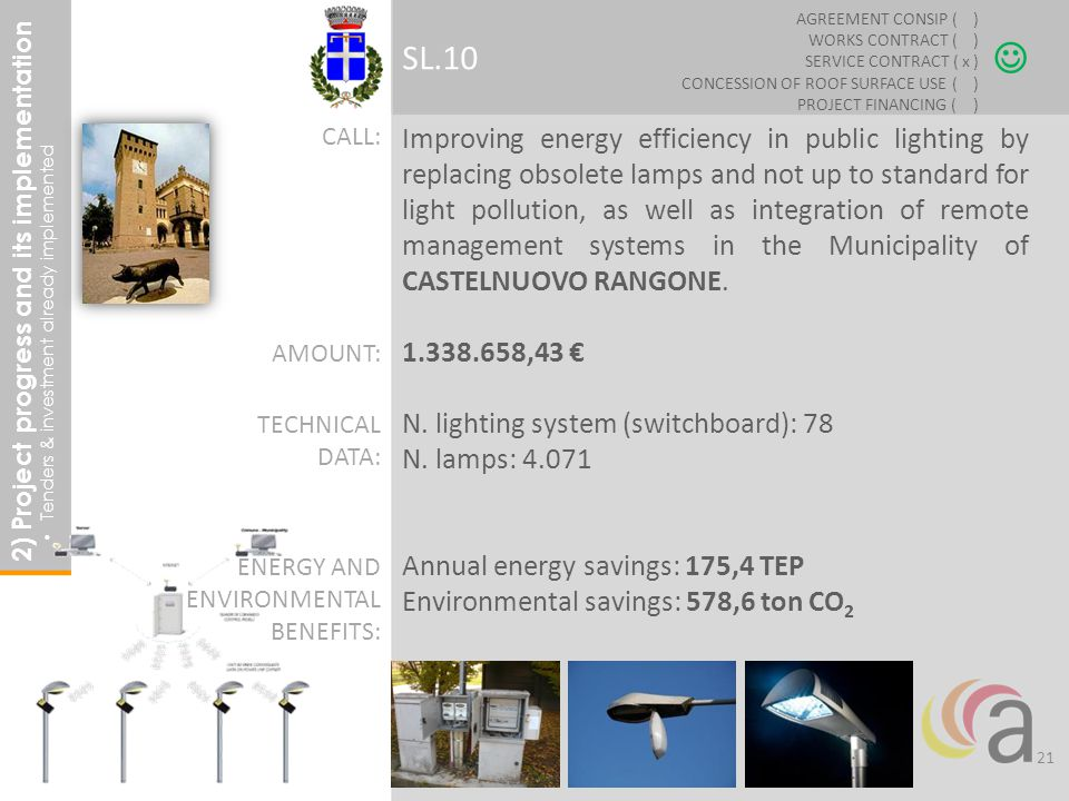 Improving energy efficiency in public lighting by replacing obsolete lamps and not up to standard for light pollution, as well as integration of remote management systems in the Municipality of CASTELNUOVO RANGONE.