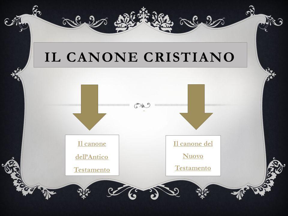 IL CANONE CRISTIANO Il canone dell'Antico Testamento Il canone del Nuovo Testamento