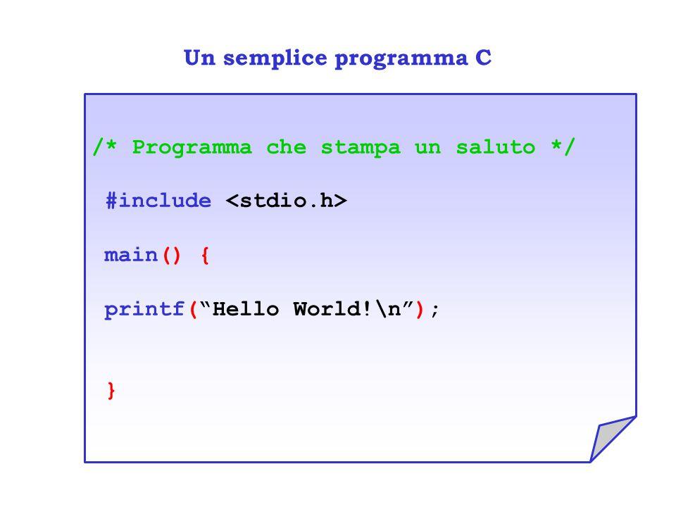 Un semplice programma C /* Programma che stampa un saluto */ #include main() { printf( Hello World!\n ); }
