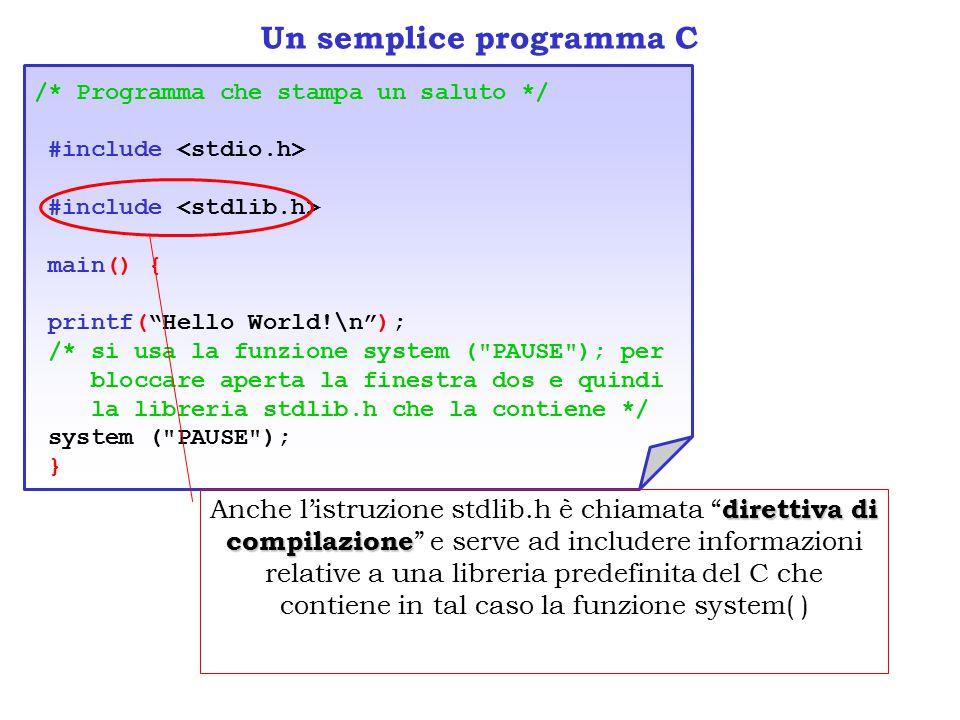 Un semplice programma C /* Programma che stampa un saluto */ #include #include main() { printf( Hello World!\n ); /* si usa la funzione system ( PAUSE ); per bloccare aperta la finestra dos e quindi la libreria stdlib.h che la contiene */ system ( PAUSE ); } direttiva di compilazione Anche l'istruzione stdlib.h è chiamata direttiva di compilazione e serve ad includere informazioni relative a una libreria predefinita del C che contiene in tal caso la funzione system( )
