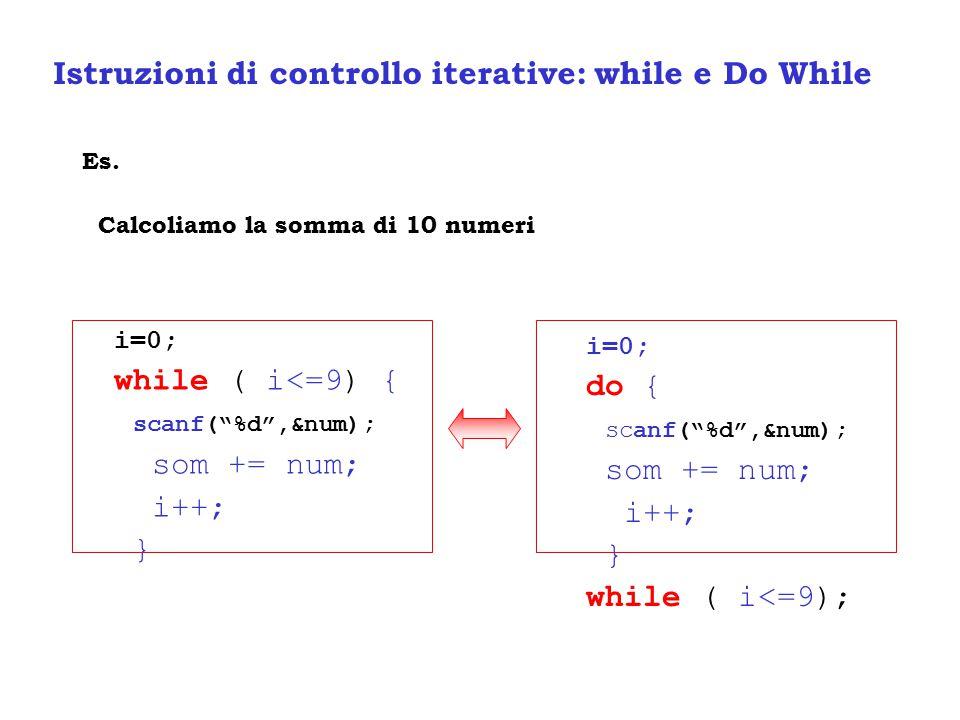 Istruzioni di controllo iterative: while e Do While Es.