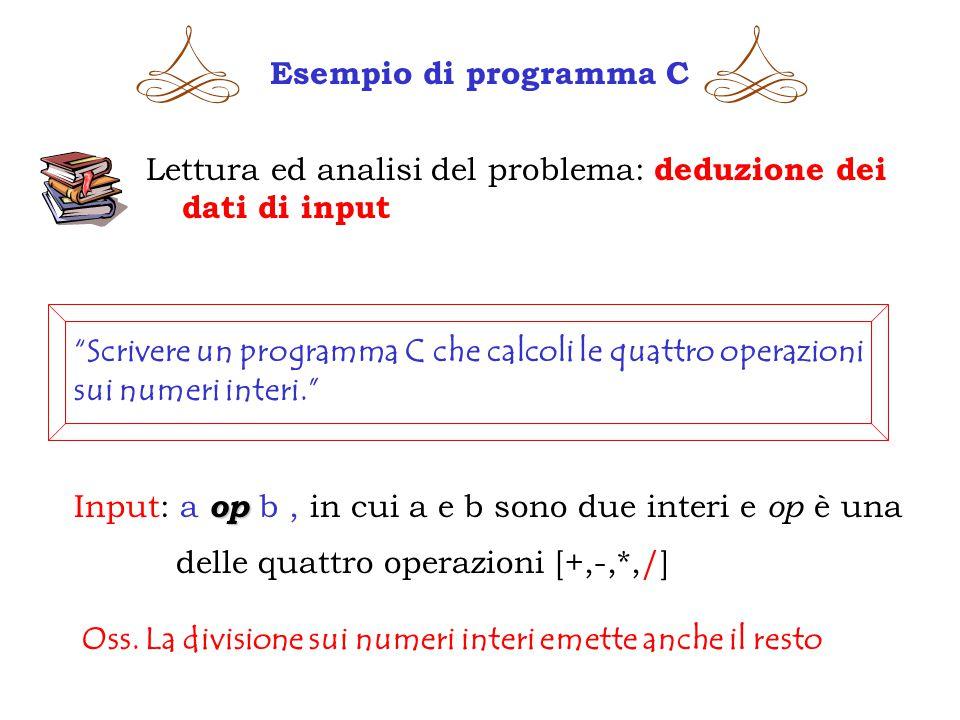Esempio di programma C Lettura ed analisi del problema: deduzione dei dati di input Scrivere un programma C che calcoli le quattro operazioni sui numeri interi. op Input: a op b, in cui a e b sono due interi e op è una delle quattro operazioni [+,-,*,/] Oss.