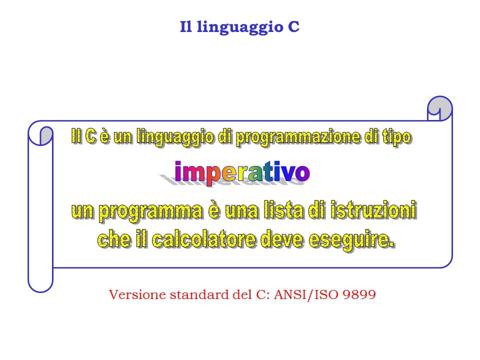 Il linguaggio C Versione standard del C: ANSI/ISO 9899