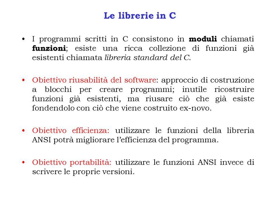 Le librerie in C moduli funzioniI programmi scritti in C consistono in moduli chiamati funzioni ; esiste una ricca collezione di funzioni già esistenti chiamata libreria standard del C.