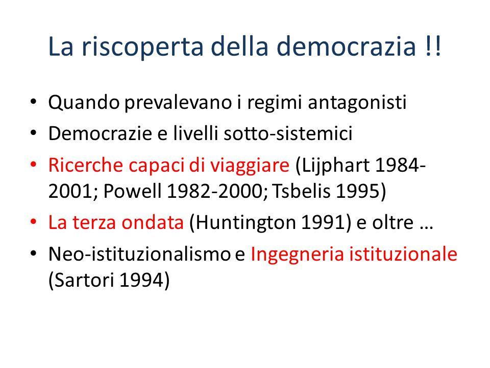 La riscoperta della democrazia !! Quando prevalevano i regimi antagonisti Democrazie e livelli sotto-sistemici Ricerche capaci di viaggiare (Lijphart