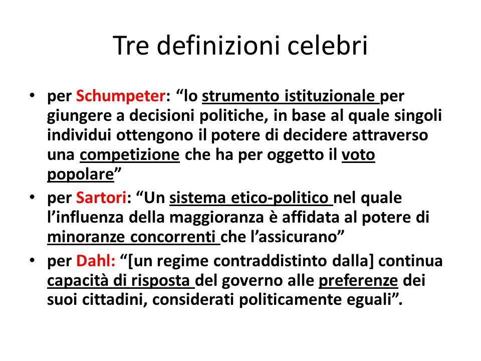"""Tre definizioni celebri per Schumpeter: """"lo strumento istituzionale per giungere a decisioni politiche, in base al quale singoli individui ottengono i"""