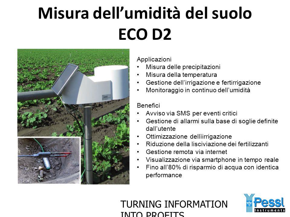TURNING INFORMATION INTO PROFITS Misura dell'umidità del suolo ECO D2 Applicazioni Misura delle precipitazioni Misura della temperatura Gestione dell'