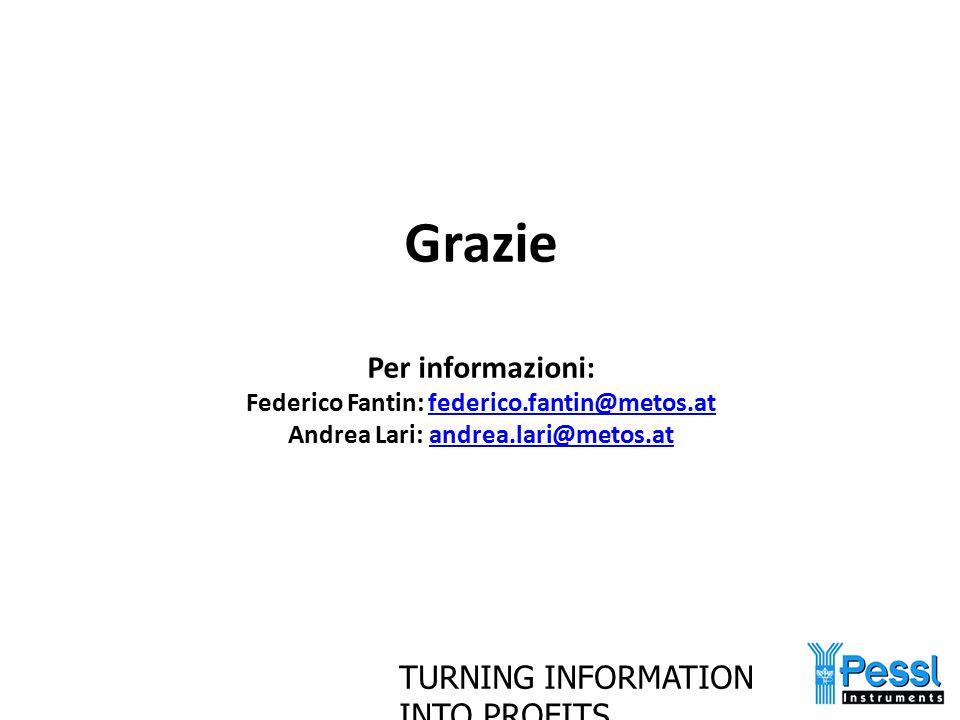 TURNING INFORMATION INTO PROFITS Grazie Per informazioni: Federico Fantin: federico.fantin@metos.at Andrea Lari: andrea.lari@metos.atfederico.fantin@m