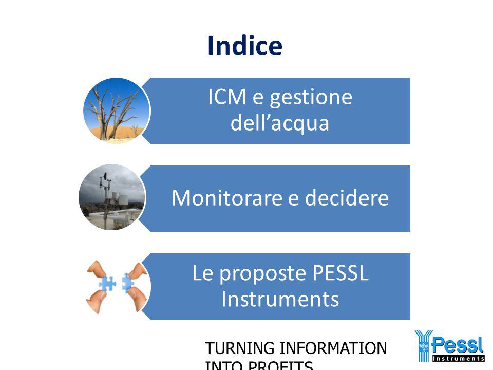 TURNING INFORMATION INTO PROFITS ICM e gestione dell'acqua Monitorare e decidere Le proposte PESSL Instruments Indice