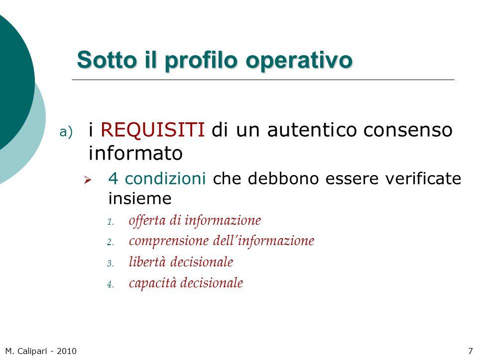 M. Calipari - 20107 Sotto il profilo operativo a) i REQUISITI di un autentico consenso informato  4 condizioni che debbono essere verificate insieme