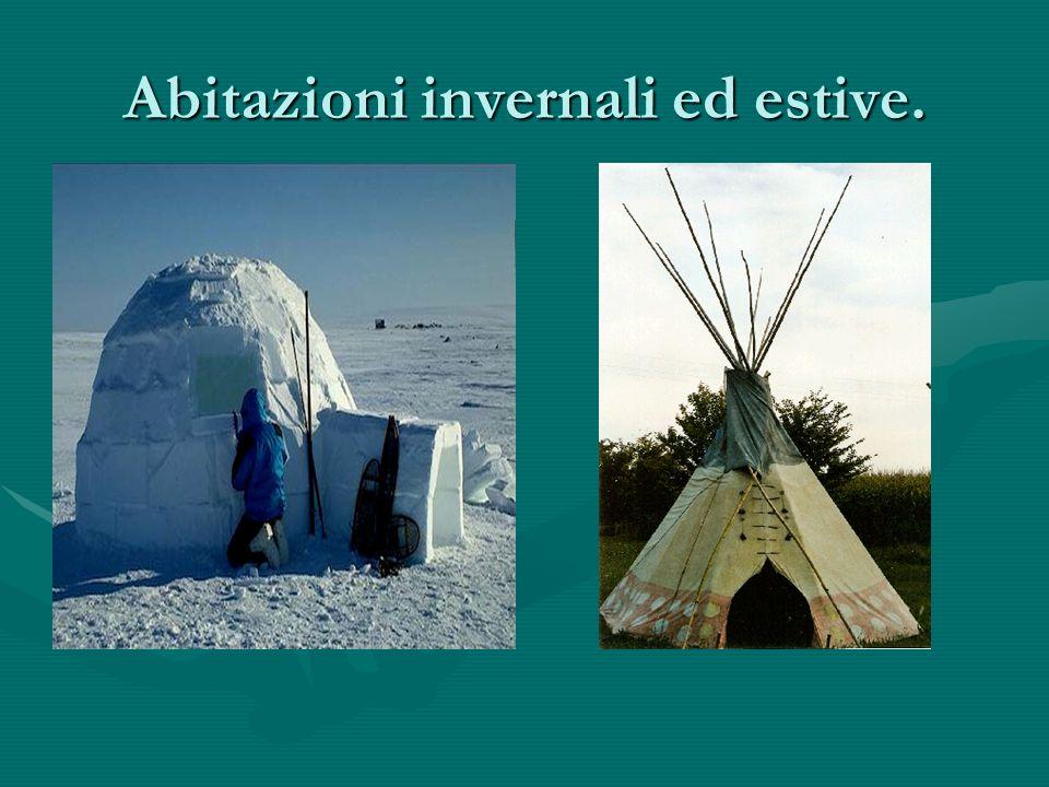LE ABITAZIONI DEGLI INUIT. Le abitazioni invernali hanno una struttura di pietra, legno o costole di balena, ricoperta di pelli. Tipico degli INUIT ce