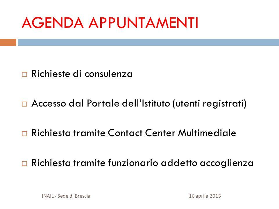 AGENDA APPUNTAMENTI  Richieste di consulenza  Accesso dal Portale dell'Istituto (utenti registrati)  Richiesta tramite Contact Center Multimediale