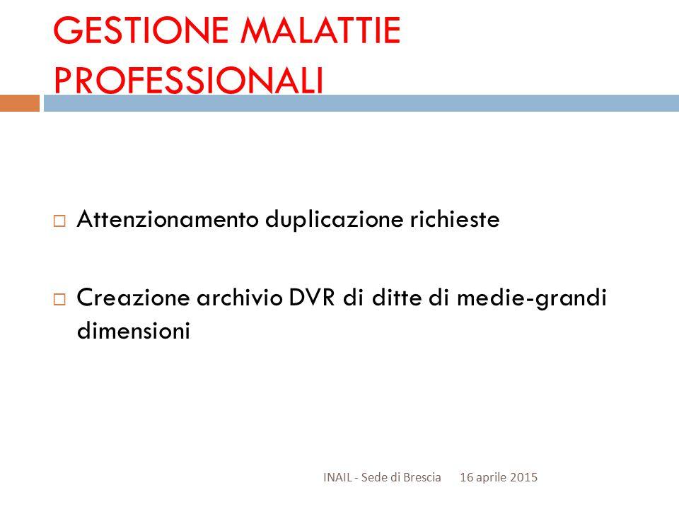 GESTIONE MALATTIE PROFESSIONALI  Attenzionamento duplicazione richieste  Creazione archivio DVR di ditte di medie-grandi dimensioni 16 aprile 2015INAIL - Sede di Brescia