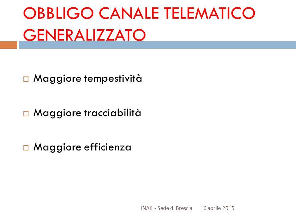 OBBLIGO CANALE TELEMATICO GENERALIZZATO  Maggiore tempestività  Maggiore tracciabilità  Maggiore efficienza 16 aprile 2015INAIL - Sede di Brescia
