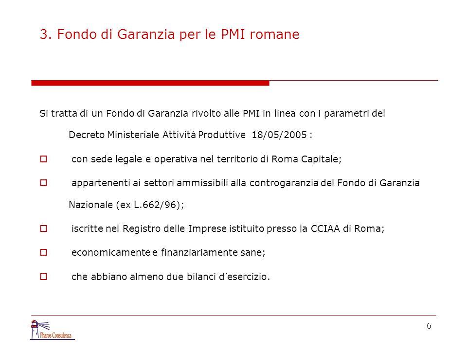 6 3. Fondo di Garanzia per le PMI romane Si tratta di un Fondo di Garanzia rivolto alle PMI in linea con i parametri del Decreto Ministeriale Attività