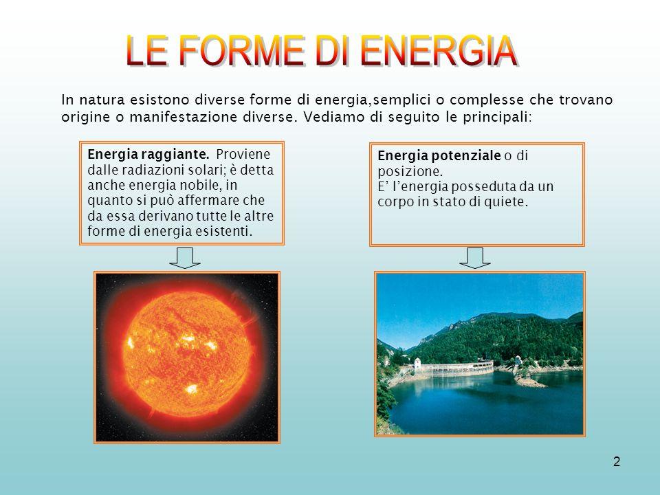 2 In natura esistono diverse forme di energia,semplici o complesse che trovano origine o manifestazione diverse. Vediamo di seguito le principali: Ene