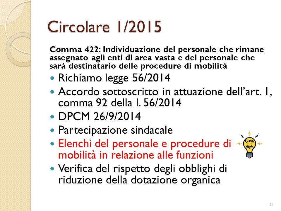 Circolare 1/2015 Comma 422: Individuazione del personale che rimane assegnato agli enti di area vasta e del personale che sarà destinatario delle procedure di mobilità Richiamo legge 56/2014 Accordo sottoscritto in attuazione dell'art.