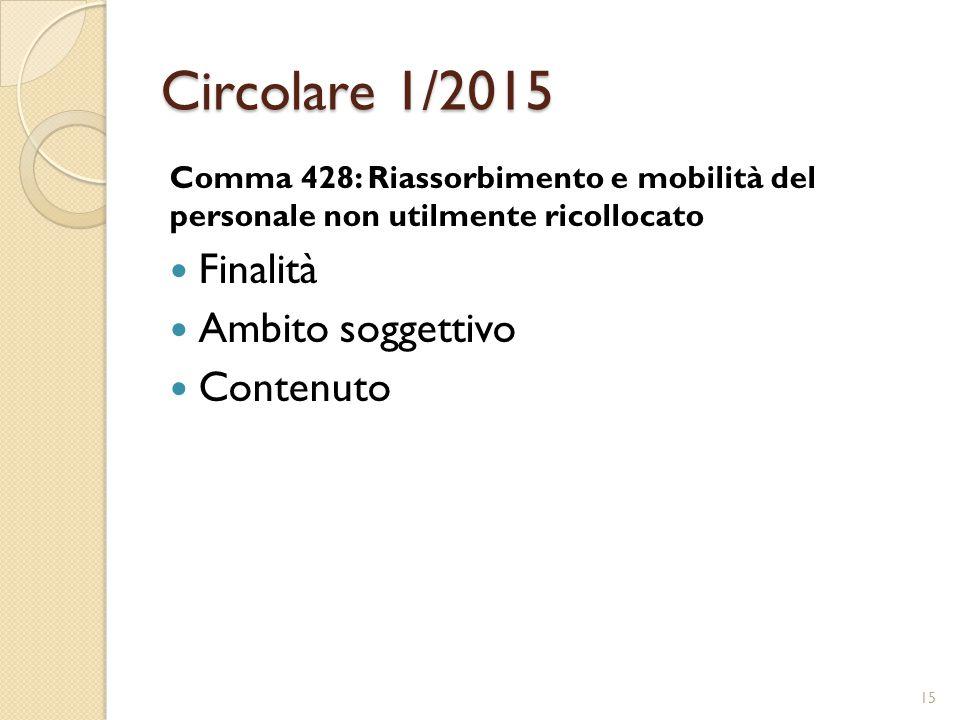 Circolare 1/2015 Comma 428: Riassorbimento e mobilità del personale non utilmente ricollocato Finalità Ambito soggettivo Contenuto 15