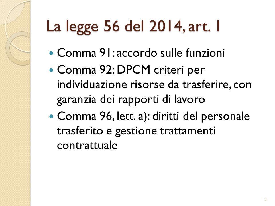 La legge 56 del 2014, art. 1 Comma 91: accordo sulle funzioni Comma 92: DPCM criteri per individuazione risorse da trasferire, con garanzia dei rappor