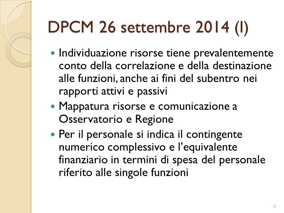 DPCM 26 settembre 2014 (I) Individuazione risorse tiene prevalentemente conto della correlazione e della destinazione alle funzioni, anche ai fini del