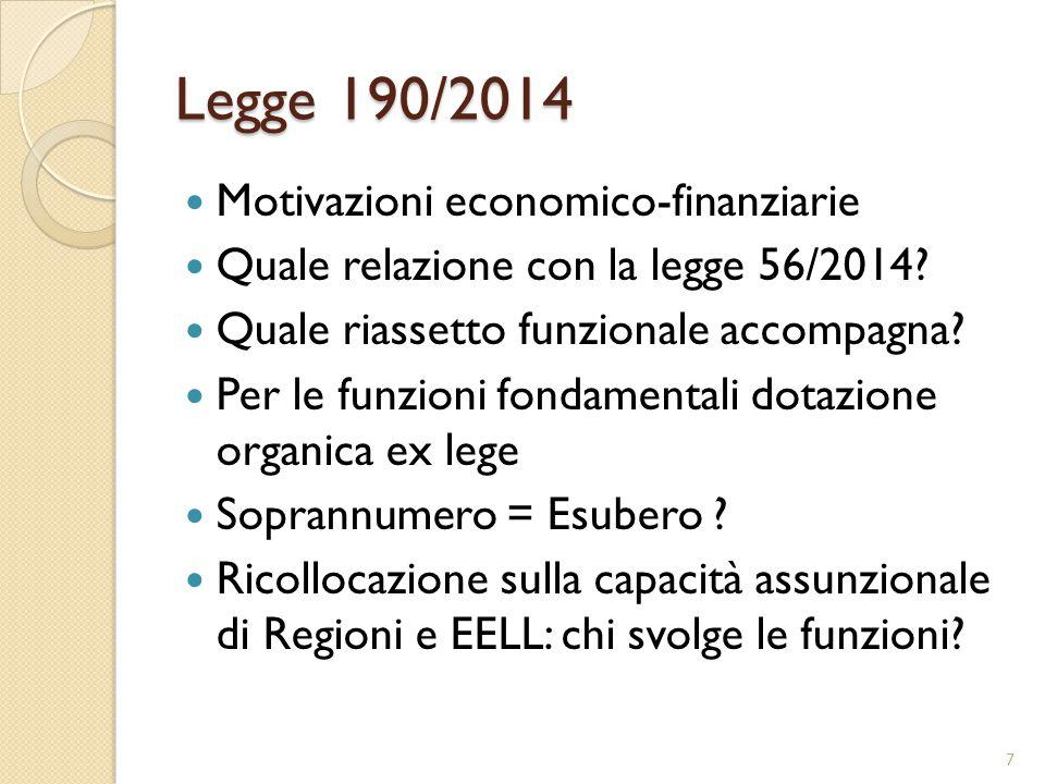 Legge 190/2014 Motivazioni economico-finanziarie Quale relazione con la legge 56/2014? Quale riassetto funzionale accompagna? Per le funzioni fondamen