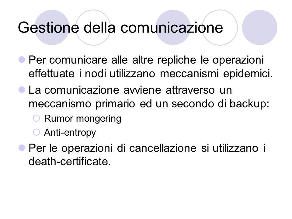 Gestione della comunicazione Per comunicare alle altre repliche le operazioni effettuate i nodi utilizzano meccanismi epidemici.