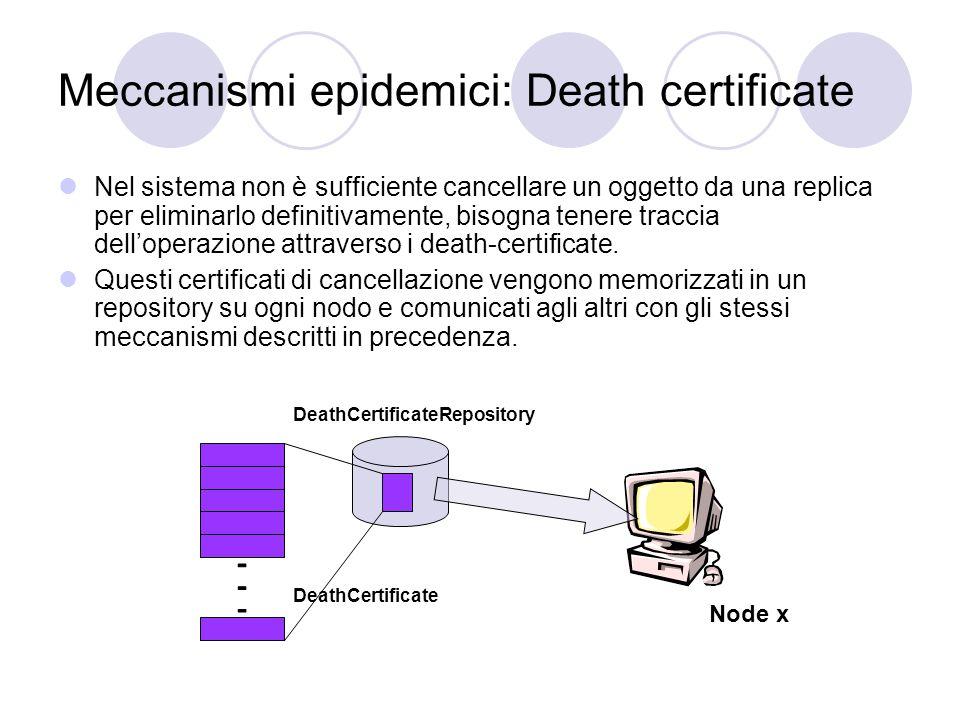 Meccanismi epidemici: Death certificate Nel sistema non è sufficiente cancellare un oggetto da una replica per eliminarlo definitivamente, bisogna tenere traccia dell'operazione attraverso i death-certificate.