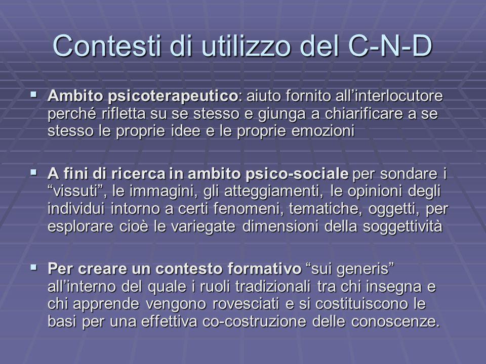 Contesti di utilizzo del C-N-D  Ambito psicoterapeutico: aiuto fornito all'interlocutore perché rifletta su se stesso e giunga a chiarificare a se st