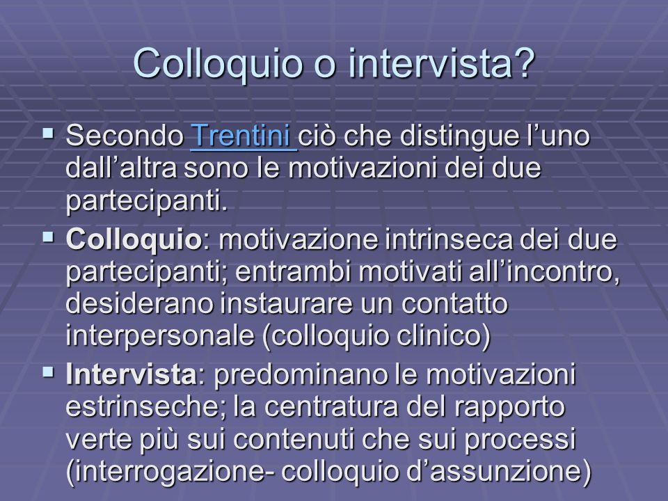 Colloquio o intervista?  Secondo Trentini ciò che distingue l'uno dall'altra sono le motivazioni dei due partecipanti. Trentini  Colloquio: motivazi
