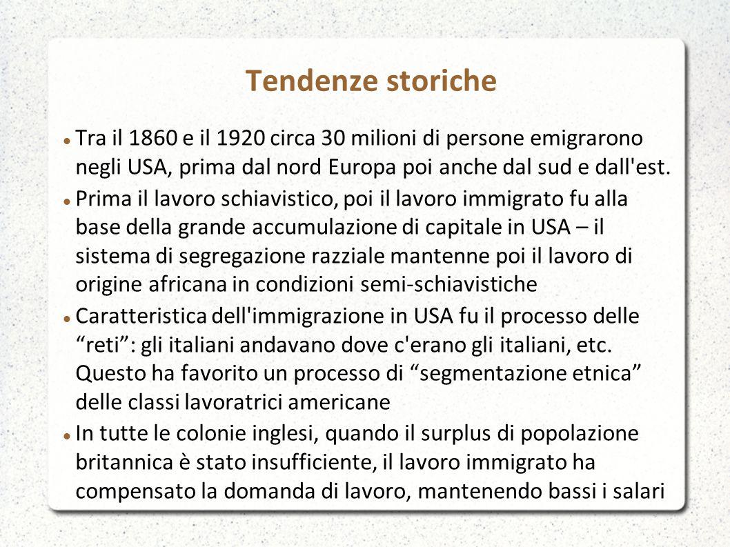 Tendenze storiche Tra il 1860 e il 1920 circa 30 milioni di persone emigrarono negli USA, prima dal nord Europa poi anche dal sud e dall'est. Prima il