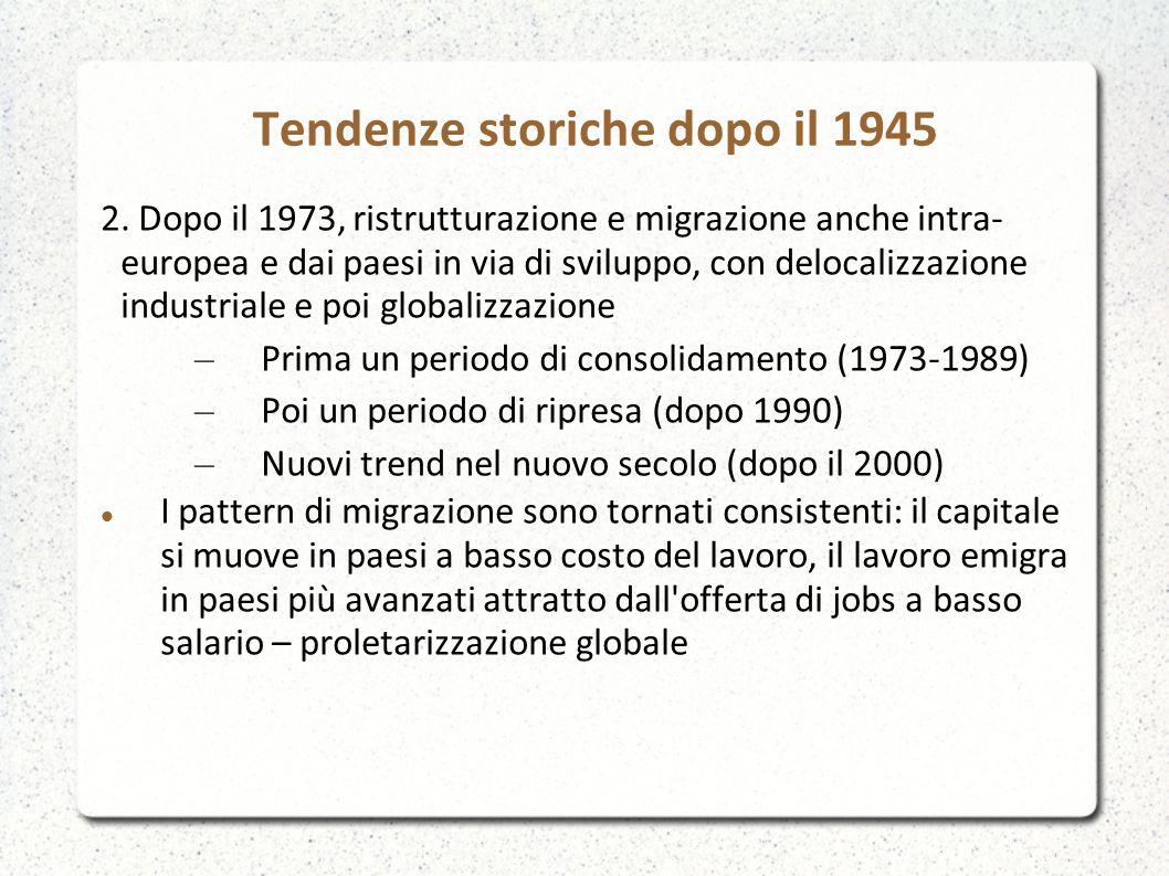 Tendenze storiche dopo il 1945 2. Dopo il 1973, ristrutturazione e migrazione anche intra- europea e dai paesi in via di sviluppo, con delocalizzazion