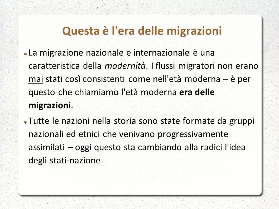 Questa è l era delle migrazioni Tra 800 e 900 ci fu un enorme flusso migratorio – l era della migrazione di massa – ma fu soprattutto transatlantica tra Europa e America Tra il 1846 e il 1939, 59 milioni di persone hanno lasciato l Europa per andare in America, Australia e Nuova Zelanda.