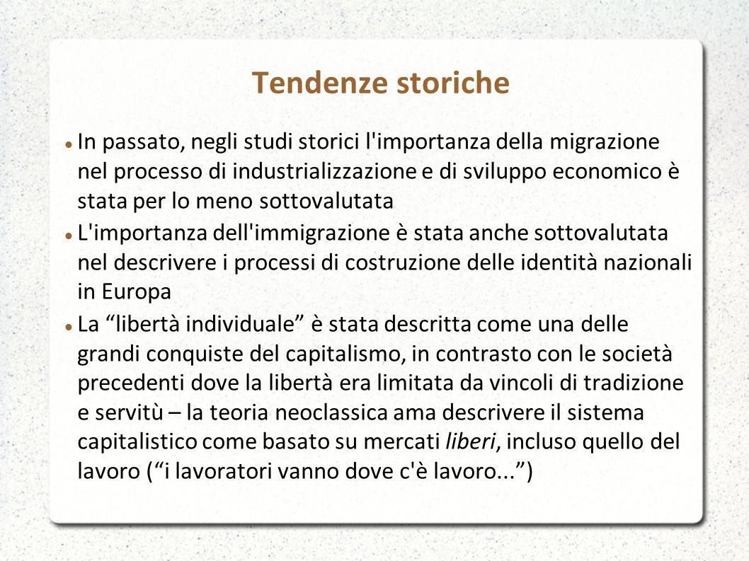 Tendenze storiche In passato, negli studi storici l'importanza della migrazione nel processo di industrializzazione e di sviluppo economico è stata pe