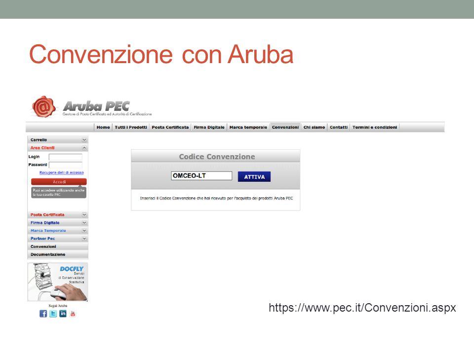 Convenzione con Aruba https://www.pec.it/Convenzioni.aspx
