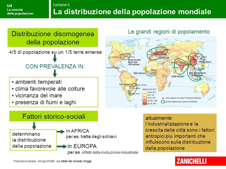 U4 La crescita della popolazione Francesco Iarrera, Giorgio Pilotti - Le sfide del mondo d'oggi Le grandi regioni di popolamento 4/5 di popolazione su