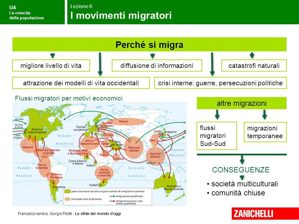 U4 La crescita della popolazione Francesco Iarrera, Giorgio Pilotti - Le sfide del mondo d'oggi Flussi migratori per motivi economici società multicul