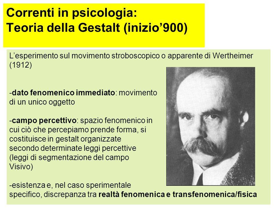 Correnti in psicologia: Teoria della Gestalt (inizio'900) Oggetto di studio è il dato fenomenico immediato, che, per definizione, appartiene al campo fenomenologico o percettivo in cui il soggetto si trova Per campo fenomenologico s'intende l'insieme delle percezioni di ciò che il soggetto vede, ode,…( Koffka: l'esperienza diretta, completa e non prevenuta) Ma assolutamente non ciò che sa, pensa o crede di sapere di come sia il mondo che percepisce (Metzger: il dato immediato così come esso è come appare, inatteso, illogico…senza lasciarsi fuorviare da quanto ci è noto, appreso)