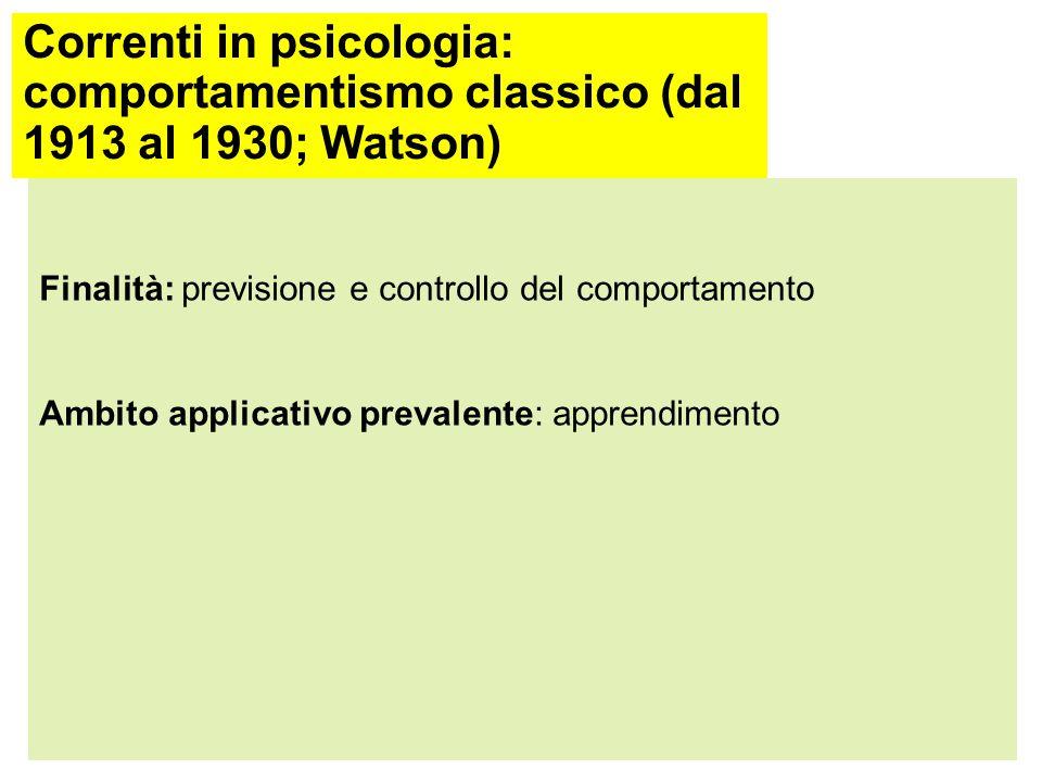 Correnti in psicologia: comportamentismo classico (dal 1913 al 1930; Watson) Punto di vista teorico: reazione all'enfasi posta sui meccanismi interni